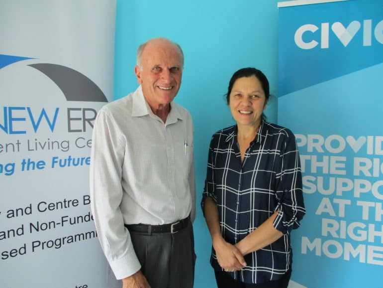 Greg Gibbens, President of the Committee of Management of New Era with  Civic CEO Annie Doyle