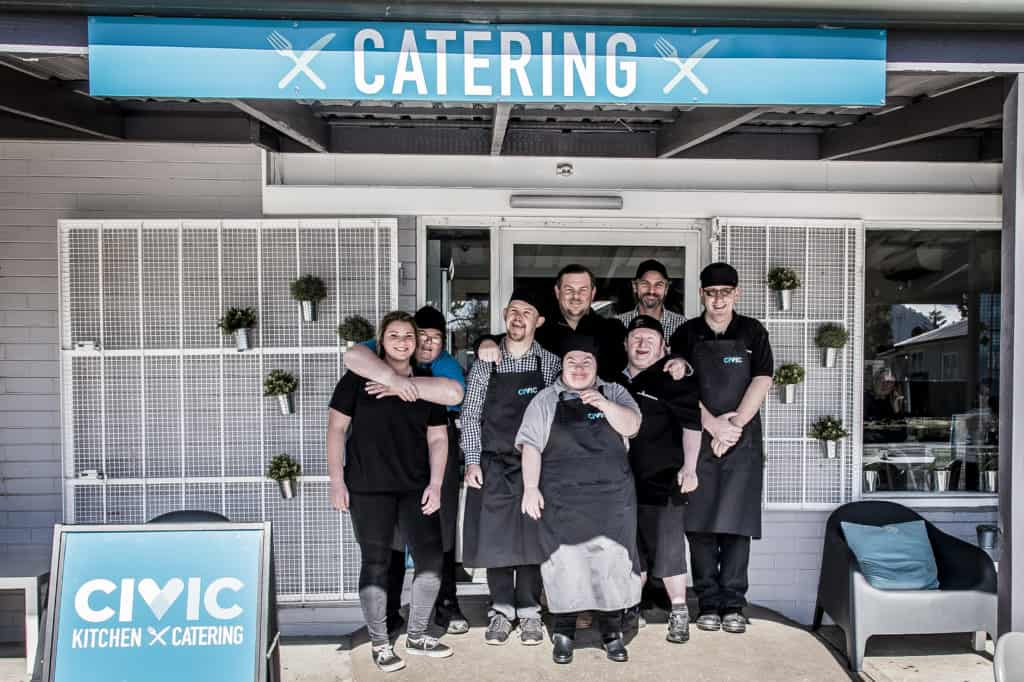 Civic Kitchen & Catering staff in front of the café.