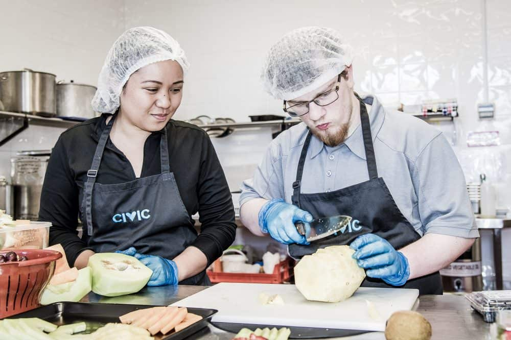 prepping food at Civic Kitchen & Catering Cafe Engadine