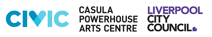 Civic Casula, Powerhouse Arts Centre, and Liverpool City Council banner