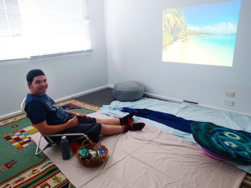 Rhys enjoying his inventive 'home' beach.