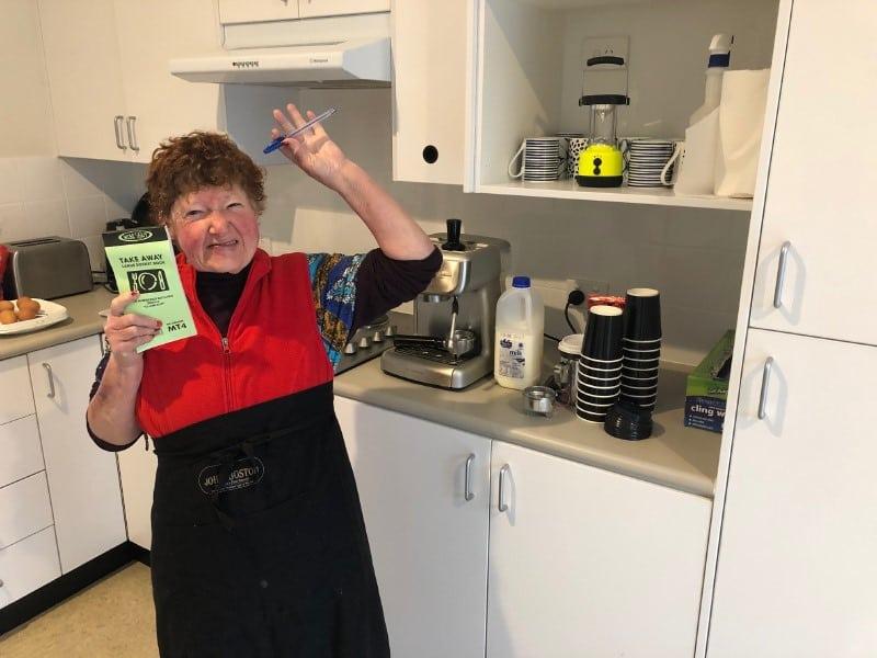 Bronwynne taking orders at Café Blackheath.